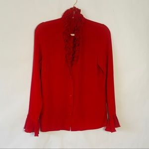 Escada buttondown ruffled front blouse red 38 M